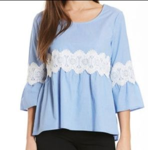 Eyeshadow • blue striped lace babydoll blouse
